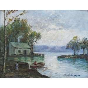 Angelo Cannone - óleo sobre madeira 22 x 27 cm Lago d'Iseo ass. CID