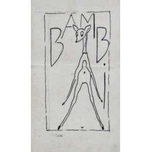 Antônio Gomide - nanquim sobre papel 11 x 6,5 cm Bambi ass. verso, etiqueta A Galeria, ex-coleção Waldemar Szaniecki
