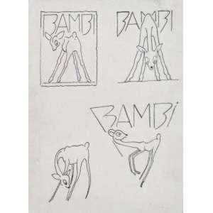 Antônio Gomide - nanquim sobre papel 15 x 11 cm Bambis ass. verso etiqueta A Galeria, ex-coleção Waldemar Szaniecki