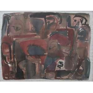 Alberto Kaplan - aquarela sobre cartão 50 x 65 cm Composição ass. CID 1990