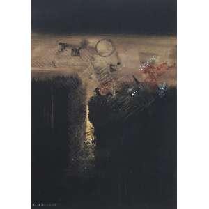 Fernando Odriozola - técnica mista 49 x 34 cm Abstração ass. CIE 1966 ex-coleção Waldemar Szaniecki