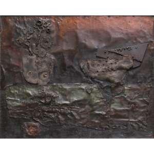 Mario Agostinelli - relevo escultórico em metal sobre madeira 44 x 54 cm BR 3119 ass.verso 1968 etiqueta A Galeria, ex-coleção Waldemar Szaniecki