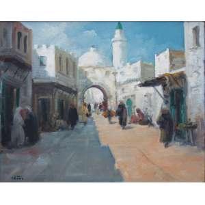 Renzo Gori - óleo sobre tela 40 x 50 cm Rua Arabe ass. CIE e verso