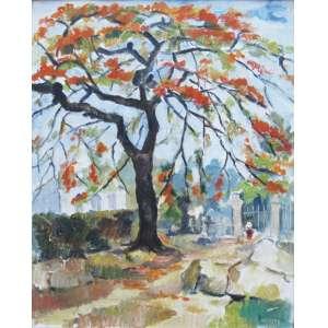 Milton Dacosta - óleo sobre tela 40 x 33 cm Flamboyan ass. CID 1936 etiqueta Galeria Ricardo Camargo, nov/1995