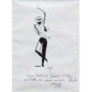 Carybé - nanquim sobre cartão 27 x 20cm Dançarino ass. CID 1988 com dedicatória, ex-coleção Waldemar Szaniecki