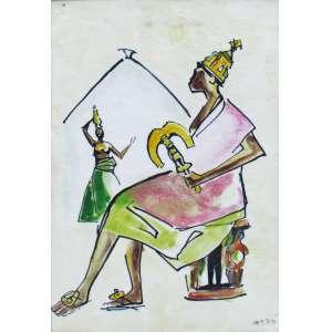 Carybé - técnica mista, vinil sobre cartão 32 x 22 cm Xangô ass. CID 1978 fase Iconografia dos Deuses Africanos no Candomblé da Bahia, etiqueta A Galeria, ex-coleção Waldemar Szaniecki