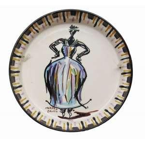 Carybé - cerâmica 25 x 4,5 cm Baiana ass. CIE ex-coleção Waldemar Szaniecki