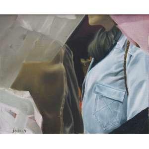Sendin, Armando - óleo sobre tela 33 x 41 cm Modelo com jeans ass. CIE 1973 etiqueta A Galeria, ex-coleção Waldemar Szaniecki
