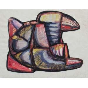Mario Cravo Júnior - técnica mista 47 x 61 cm Despertar ass. CID 1973 etiqueta A Galeria, ex-coleção Waldemar Szaniecki