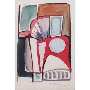 Mario Cravo Júnior - técnica mista 55 x 36 cm Composição Abstrata ass. CID 1969 etiqueta A Galeria, ex-coleção Waldemar Szaniecki