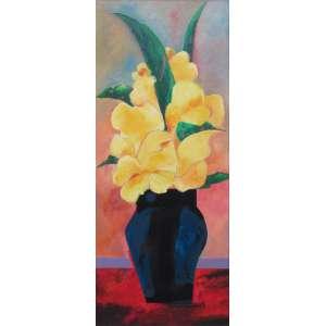 """Aldemir Martins - acrílica sobre tela 85 x 35 cm """"Vaso com flores amarelas"""" Ass. CID e verso mai/1988"""