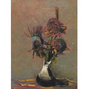Danilo Di Prete - óleo sobre tela 73 x 54 cm Vaso com Flores ass. CID reproduzida no catálogo Dutra Leilões (dez/2004), etiqueta A Galeria, ex-coleção Waldemar Szaniecki