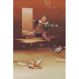 """Roni Brandão - óleo sobre tela 60 x 40 cm """"Os Marionetes Nº46"""" ass. CIE e verso jul/1980"""