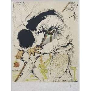 "Salvador Dalí - gravura 66 x 49 cm L'homme accablé - Série: Don Quijote ass. CID t. 41/300 certificado ""Galeria Surrealista Calle Montcada Barcelona"" no verso"