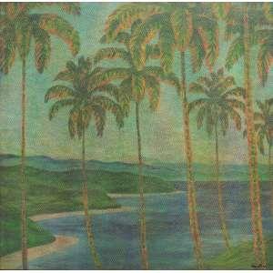 Claudio Tozzi - acrílica sobre tela colada sobre madeira 90 x 90 cm Paisagem ass. CID e verso 1980