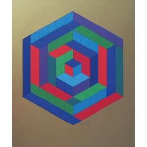 Victor Vasarely - gravura 60 x 50 cm SIN - HAT-A,1972 ass. CID t. 300/340 Alemanha etiqueta A Galeria, ex-coleção Waldemar Szaniecki