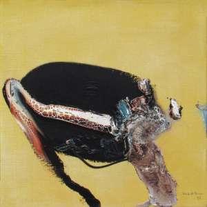 """Manabu Mabe - óleo sobre tela 51 x 51 cm """"Amarelo"""" ass. CID 1976 etiqueta da Galeria de Arte André no verso"""