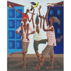 Clóvis Graciano - óleo sobre tela 100 x 81 cm Quatro homens tocando ass. CID e verso 13/09/1973 Contém selo Galeria Documenta (nº 3572 F) e A Galeria, ex-coleção Waldemar Szaniecki e autenticação no dorso pelo Artista.