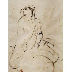 Clóvis Graciano - óleo sobre papel 40 x 35 cm Homem com peneira ass. CIE, Paris - 1950 etiqueta Ateliê Clóvis Graciano