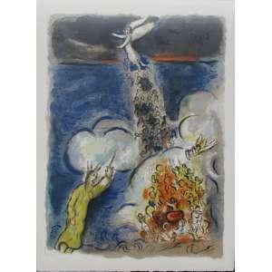 """Marc Chagall - litogravura a cores - 51 x 37 cm - """"The Story of the Exodus: Then Moses stretched forth his hands upon the Sea...,1966"""" - não assinada - reproduzida no catálogo """"Chagall: Lithographe 1962-1968"""" nº 153. Esta litogravura faz parte de uma série de vinte e quatro litogravuras coloridas, criadas em 1966, conhecidas como: """"The Story of the Exodus"""" sendo que foram feitas 250 cópias de cada desenho. Acompanha certificado de autenticidade, emitido pela """"Galerie Michael"""" - Rodeo Drive/Beverly Hills - Califórnia. Acompanha xérox do catálogo raisonné."""