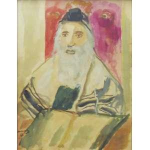 Emmanuel Mané-Katz - aquarela sobre cartão timbrado 64 x 50 cm O Rabino ass. CIE 1961 com certificado de autenticidade