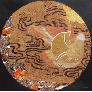 Wakabayashi, Kazuo - óleo e folha de ouro sobre tela 100 x 100 cm Pássaros ass: CID e verso 2008 etiqueta A Galeria, ex-coleção Waldemar Szaniecki