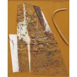 """Wakabayashi, Kazuo - óleo sobre tela 50 x 40 cm """"Sem título"""" Ass.CSD 1977"""