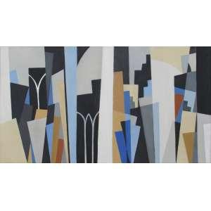 Sérgio Fingermann - óleo sobre tela 50 x 90 cm Sem Título ass. verso 2008 coleção Martin Wurzmann