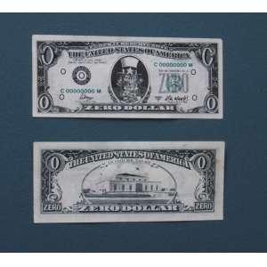"""Cildo Meireles - litografi a offset sobre papel 7 x 15 cm duas notas """"Zero Dólar"""" ass. na nota 1984"""