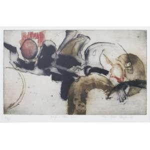 Anna Bella Geiger - gravura 33 x 52 cm Coração e outras coisas ass. CID t. 18/25 1966 recorte sobre o trabalho da Artista no verso, coleção Martin Wurzmann