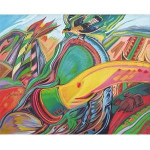 Aloysio Zaluar - óleo sobre tela 80 x 100 cm A Descoberta da América ass. CIE e verso Rio de Janeiro - 1990 etiqueta A Galeria, ex-coleção Waldemar Szaniecki