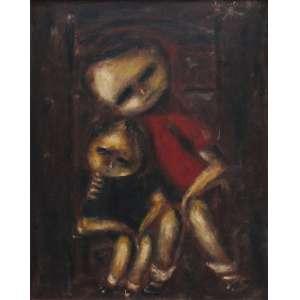 Janio Quadros - óleo sobre eucatex 50 x 40 cm Crianças ass. CSD 1973. etiqueta A Galeria, ex-coleção Waldemar Szaniecki e recorte de revista com matéria do artista junto a obra.