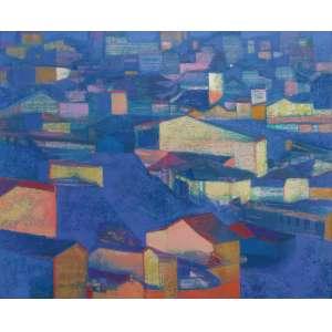 Carmelio Cruz - óleo sobre tela 81 x 100 cm Casas ass. CIE 1985