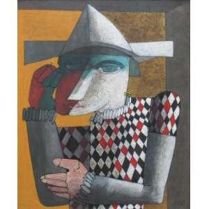 """Inos Corradin - óleo sobre tela 65 x 50 cm """"Pierrot"""" ass. CID etiqueta Galeria de Arte André no verso"""