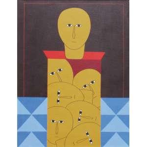 Antônio Maia - acrílica sobre tela 61 x 46 cm Composição 159 ass. centro e verso 1981/1983 etiqueta A Galeria, ex-coleção Waldemar Szaniecki
