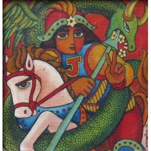 Wellington Virgolino - óleo sobre tela colada sobre placa 19 x 19 cm São Jorge ass. CID e verso Recife - 1973 ex-coleção Waldemar Szaniecki