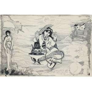 """Wellington Virgolino e Aluisio Braga - nanquim sobre cartão 32 x 47 """"Orixas"""" ass. centro e CIE"""