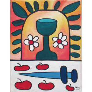 """François Hoald - óleo sobre tela 65 x 50 cm """"Cálice da Esperança"""" ass. CID e verso 1970"""