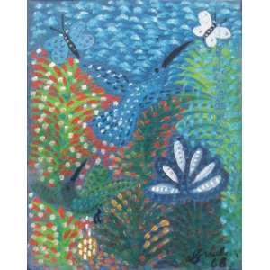 """Graubem do Monte Lima - óleo sobre tela 27 x 22 cm """"Pássaros e borboletas"""" ass. CID 1968 reproduzida no catalogo de Evendro Carneiro jun/2005"""