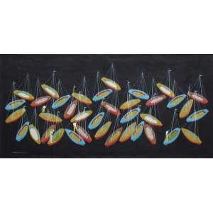 Manezinho Araújo - óleo sobre tela 60 x 120 cm Barcos ass. CIE 1972