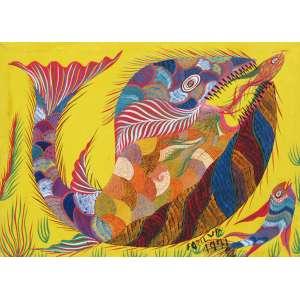 """Francisco da Silva - acrílico sobre tela 50 x 70 cm """"Baleia"""" ass. CID 1971"""