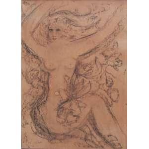 """Rodrigues, Augusto - giz sobre cartão 50 x 35,5 cm """"Sereia"""" ass. CID 1977"""