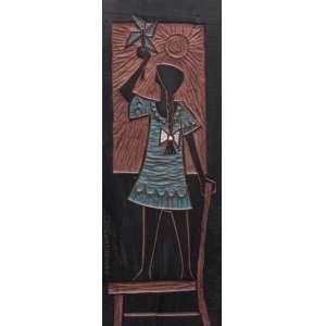 """Corbiniano, José - placa de madeira 56,5 x 20,5 cm """"Menina"""" ass. lateral esquerda"""