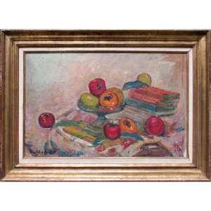 Marie Nivoulies de Pierrefort - óleo sobre tela 45 x 70 cm Caquis ass. CIE