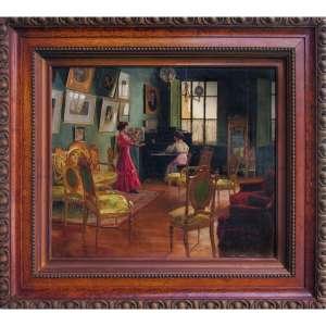 Helena Pereira da Silva Ohashi - óleo sobre tela 52 x 62 cm Cena Palaciana ass. CID