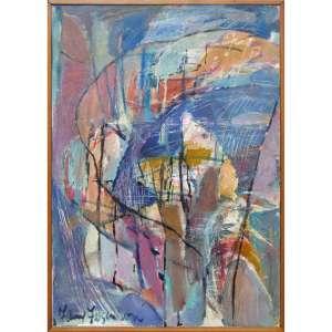 """Fanny Feigenson - acrílica, pastel e carvão sobre tela 60 x 40 cm """"Sem título"""" ass. CIE e verso 1989"""