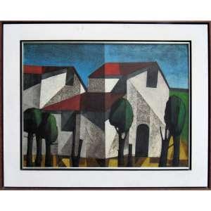 Inos Corradin - óleo sobre tela 60 x 79,5 cm Casas de Campo ass. CID