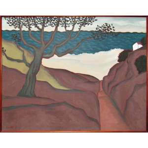 Fang, Chen Kong - óleo sobre tela 80 x 100 cm Paisagem ass. CIE e verso 1986