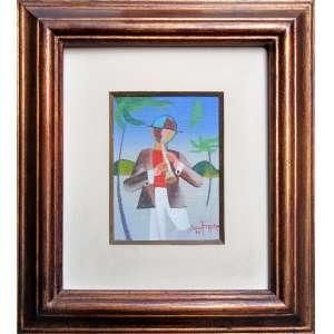 Decío Ferreira - óleo sobre tela 12 x 9 cm Chamando Vento ass. CID 1983