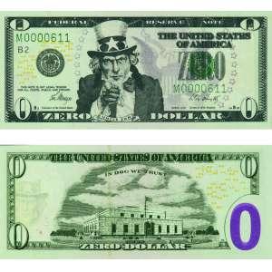 Cildo Meireles - impressão offset sobre papel moeda 6 x 15 cm Zero Dollar ass. na nota 2013 - em suporte de acrílico, acompanha certificado do Instituto Adelina